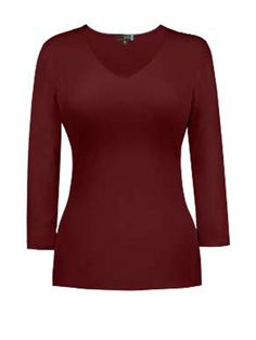 V-Neck 3/4 Sleeve Top by JUDY P