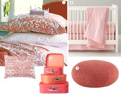 Coral bedding & accessories from Land of Nod