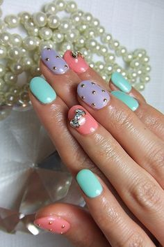 Japanese Nail Art Manicure Pastel Purple, Pink, Blue