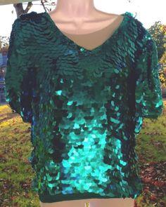 GORGEOUS Shomax 100% SILK TUNIC W/Glistening 💧Turquoise Sequins,Evening Wear, S | eBay