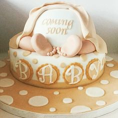 Baby shower cake for a lovely lady who loves brown & cream