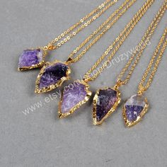 Wholesale Gold Plated Natural Amethyst Arrowhead Necklace Natural Amethyst Jewelry Handmade Gemstone Quartz Rough Amethyst Charm G0697-N by Druzyworld on Etsy