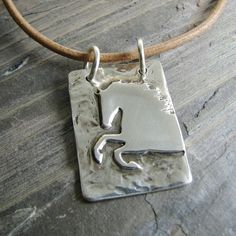 Horse Jewelry, Artisan Handmade Rustic Rearing Horse Pendant in Recycled Fine Silver with Sterling Ring $68.00