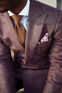 gentlemenwear: The window pane pattern: Anyone can wear a suit with a window pane pattern, but it is especially recommended to slimmer gentlemen as the horizontal lines bulk up your presence. Window pane patterns can be worn to the office (to keep the solids interesting while they rest) and to special occasions (not to job interviews & funerals) but they can also be worn just to turn some heads. The window pane pattern is perfect for both classic and contemporary dressing. Follow…