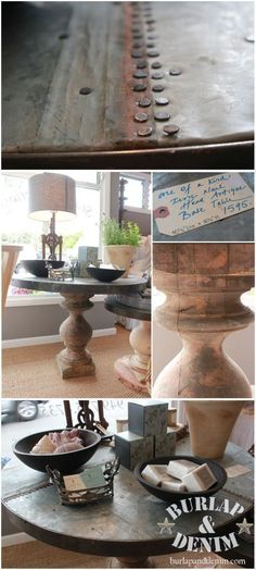 Antique Wood and Rustic Zinc Table | Shopping with Burlap & Denim