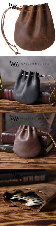 HANDMADE LEATHER MENS COOL CHANGE COIN WALLET COIN HOLDER COIN POUCH CASE FOR MEN Handmade Leather Wallet, Leather Card Wallet, Leather Gifts, Leather Pouch, Leather Men, Leather Purses, Brown Leather, Custom Leather, Leather Bags