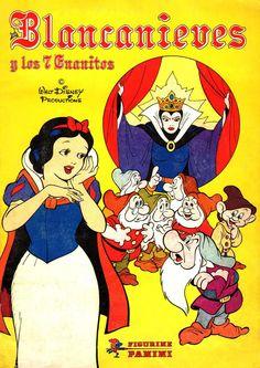 Blancanieves y los 7 enanitos. Colección de cromos, publicados en 1994 por Panini