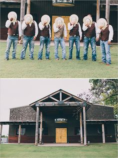 My guys will have the brown vest and the jeans: then Justin's vest will be camo!!!! This looks exactly how I want the guys dressed!!!!