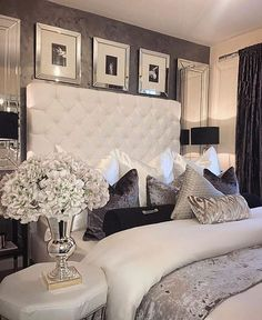 Luxury bedroom, mirrored elements, upholstered headboard, light interior, accent wall, art installation, transitional design, modern elements, glam design