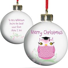 Personalised Teacher's Christmas Bauble - Miss Owl  from Personalised Gifts Shop - ONLY £10.99