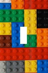 Lego blocks Light Switch Plate cover Kids Room Home decor Unique via Etsy for Mason's playroom