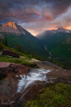 Thunderstorms and sunset over Glacier Park's McDonald Valley by Ryan Dyar, via 500px