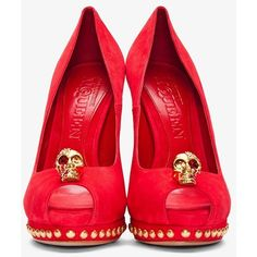 Alexander McQueen Red Suede Gold Skull Peep-toe Pumps UpscaleHype ❤ liked on Polyvore featuring shoes
