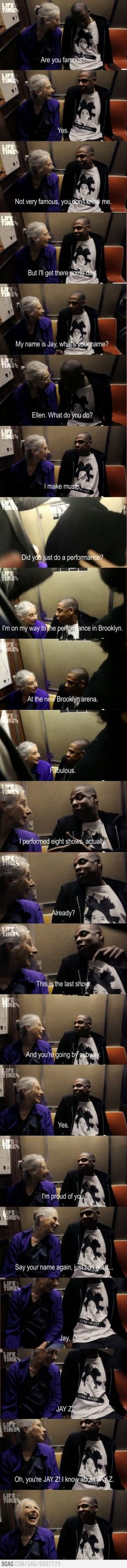 This is very cute.  I am not a fan of JayZ, but I do like how humble he is.  jay-z and old woman conversation in the subway