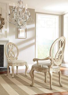 American Drewu0027s Jessica McClintock Dining Arm Chair In Antiqued White  Finish. #diningroom #furniture