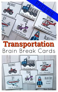 Transportation Brain Break Cards are fun activities to incorporate movement in to your lesson plans! Kids will love to pretend to pedal a bike, spin like a helicopter and much more. Great for toddler, preschool, kindergarten and up!