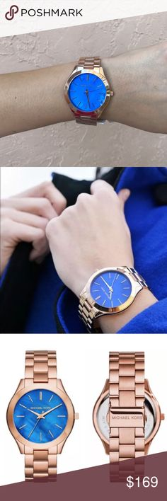 New Michael Kors MK3494 Slim Runway Women's Watch Brand New Hard To Find Michael Kors MK3494 Slim Runway Women's Rose Gold Watch. With beautiful blue face. Similar to Marc Jacobs Watch, Guess Watch and Tory Burch Watch. Michael Kors Accessories Watches