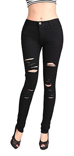 81e49faaba Women s Stretch jeans Knee Distressed Ripped Hole Skinny ... Stretch Denim  Fabric