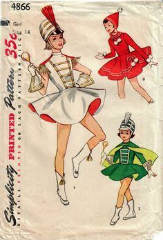 1950s Simplicity 4866 Vintage Sewing Pattern Girls Majorette Costume with Cape and Hat, Skating Costume with Hat Size 14 by midvalecottage on Etsy