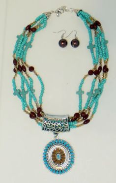 Cowgirl Bling Indian Native Turquoise Brown beaded cross Gypsy necklace set our prices are WAY BELOW RETAIL! ALL JEWELRY SHIPS FREE! baha ranch western wear ebay seller id soloedition www.baharanchwesternwear.com