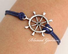 Rudder bracelet, navy bracelet, nautical bracelet, navy blue,  anchor, gift to bestfriend,blessd garden via Etsy