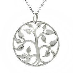 Dial up the look of your favorite outfit with this polished sterling silver necklace. The gorgeous tree-of-life pendant hangs suspended from an 18-inch chain, making it the perfect length for many different looks and clothing styles.