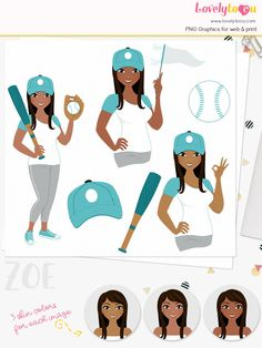Baseball Girl Clip Art Set