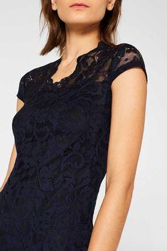 Etui-Kleid aus Spitze mit Stretchkomfort | ESPRIT Chiffon, Komplette Outfits, Models, V Neck, Tops, Women, Fashion, Elegant Dresses, Night Out Outfit