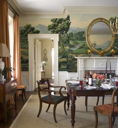 20 Timeless Farmhouse Dining Room Design and Decor Ideas that are Simply Charming Dining Room Design, Dining Room Furniture, Traditional Dining Rooms, Traditional Kitchens, Room Decorations, Of Wallpaper, Scenic Wallpaper, Zuber Wallpaper, Landscape Wallpaper