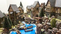 castle and village Pc Minecraft, Minecraft Castle, Minecraft Medieval, Minecraft Creations, Minecraft Projects, Lego Castle, Medieval Houses, Medieval Town, Fantasy Town