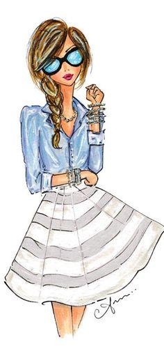 Fashion illustration print, chambray and stripes diy fashion drawing, diy fashion sketches, fashion Chambray, Fashion Art, Girl Fashion, Fashion Design, Dress Fashion, Trendy Fashion, Fashion Spring, London Fashion, Style Fashion