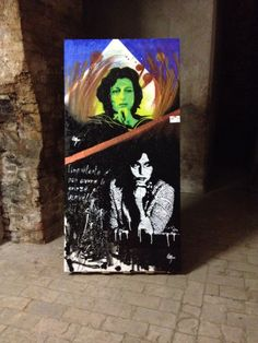 Anna Magnani 200x100 ️stencil art on wood