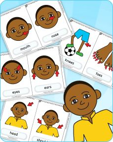 "#Free #flashcards for the classic kids' song ""Head Shoulders Knees & Toes"" from Super Simple Learning. #teaching #teachingbodyparts #kids #preK #education #preschool #SuperSimple #KidsMusic #KidsVideos #printables #kidssongs"