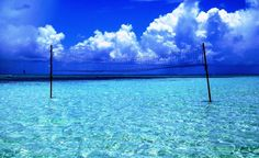 A volleyball net in the crystal blue waters of Grand Cayman