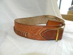 """Vintage Brown Leather HUNTER Brand AMMO BELT Bullet Cartridge ~ 37"""" #Hunter"""