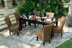 Mahogany dining table & water hyacinth chairs available from Bali Mystique