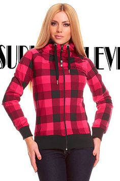 Damen Jacke Sweatjacke Kapuze Sublevel Pink-Schwarz Neu Gr.XL/42