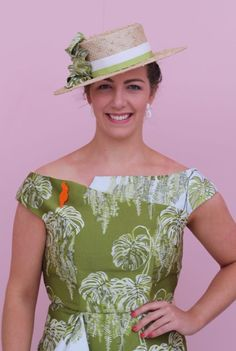 Pattern: Vogue 9355 Fabric: Reversible fern design jacquard from Darn Cheap Fabrics Bristol Boater Hat: Lauren J Ritchie Brooch: Rob Humpries Jewellery Shoes: Wittner Oaks Day, Spring Racing Carnival, Boater Hat, Darning, Tulle Dress, Fern, Bristol, Outfit Of The Day, Fabrics