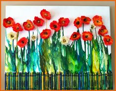 Melted Crayon Poppies by Suzanne Tiedemann Melted Crayon Poppies Melted Crayons Crayons And Crayon Art with Stylish Poppy Chromatic Wall Art for The house : Stylish Poppy Chromatic Wall Art for The house Love the mixed media - melted crayons, cupcake line Diy With Kids, Poppy Craft For Kids, Art For Kids, Crafts For Kids, Crayons Fondus, Melting Crayons, How To Melt Crayons, Remembrance Day Art, Ww1 Art
