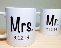 Unique Wedding Gift Idea - Bridal Shower Gift - Mr and Mrs Coffee Mug - Unique Bridal Shower Gift - Wedding Gift Idea - Ceramic Coffee Mug