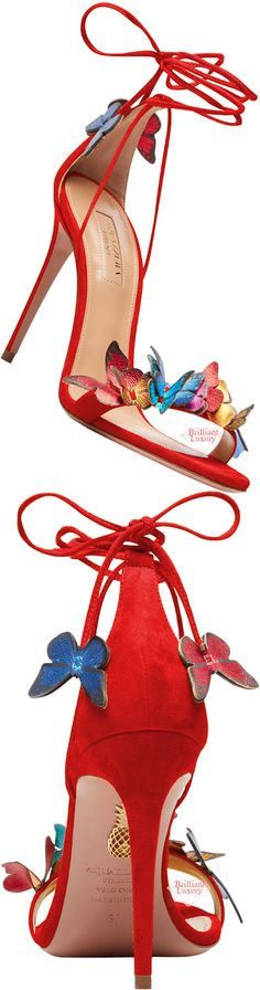 Aquazzura Red Papillon Sandal #brilliantluxury Exclusive Shoes, Shoe Shop, Aquazzura, Shoe Boots, Christian Louboutin, High Heels, Pumps, Sandals, Luxury