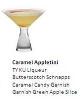 CARAMEL APPLETINI  Team TY KU Liqueur  Butterscotch Schnapps  Caramel Candy Garnish  Garnish Green Apple Slice Caramel Candy, Schnapps, Apple Slices, Tableware, Green, Food, Candy, Dinnerware, Dishes