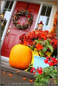 Fall Front Porch Red Rocking Chair, Front Entry Decor, Fall Planters, Autumn Cozy, Autumn Decorating, Happy Fall Y'all, Fall Halloween, Halloween Ideas, Happy Halloween