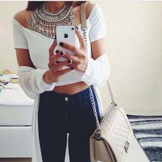 Dark Blue Skinny Jeans And White Off Shoulder Crop Top