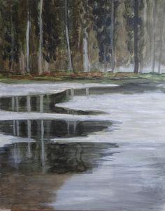 reflectie boslandschap acryl op mdf 40x50