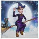 Halloween Witch and Cat on Broomstick Cloth Napkin #halloween #happyhalloween #halloweenparty #halloweenmakeup #halloweencostume