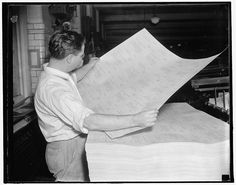 In preparation for the November 1937 Unemployment Census, a U.S. Census Bureau clerk reviews the newly printed questionnaires. Learn more at http://www.census.gov/history/