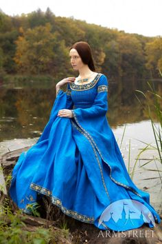 "Blue Dress ""Lady of the Lake"" medieval dress; cobalt blue dress Armstreet on Etsy Medieval Fashion, Medieval Clothing, Historical Clothing, Gypsy Clothing, Scottish Clothing, Historical Photos, Ice Blue Dress, Cobalt Blue Dress, Medieval Dress"