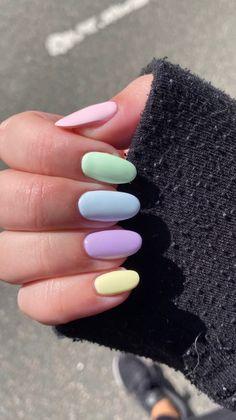Acrylic Nails Pastel, Simple Acrylic Nails, Simple Nails, Shellac Nail Colors, Shellac Nails, Cute Nail Art Designs, Acrylic Nail Designs, Summer Gel Nails, Spring Nails