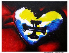 """""""You Have My Heart"""". Acrylic on canvas. Painted as a wedding gift for a couple now divorced.  Ah well...."""